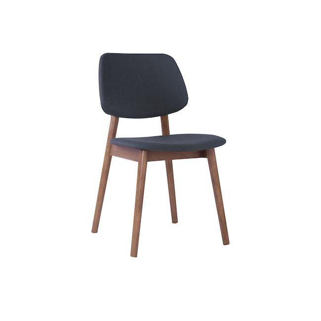 Riley Dining Chair with Cushioned Backrest - Walnut, Dark Grey - 0