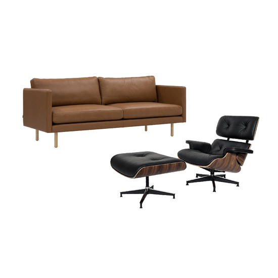 Rexton 3 Seater Sofa in Tawny with Eames Lounge Chair and Ottoman