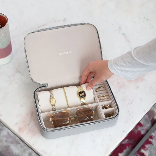 Travel Jewellery & Accessories Box - Pebble Grey - 1