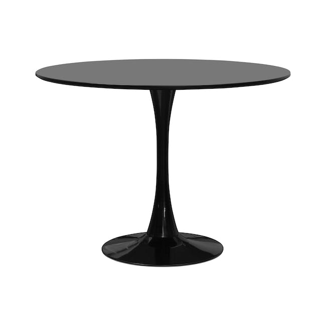 Carmen Round Dining Table 1m in Black with 4 DAW Chair Replica in Natural, Black - 1