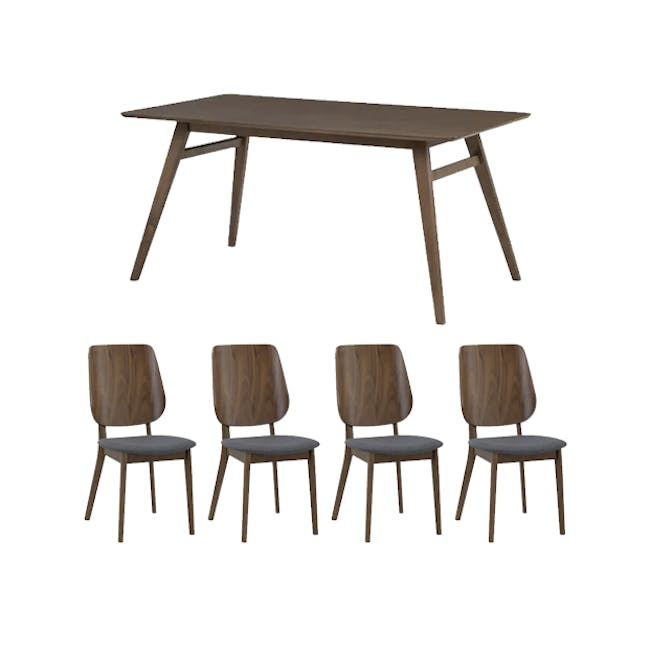 Cadell Dining Table 1.6m in Walnut with 4 Lofti Dining Chair in Cocoa, Battleship Grey - 0