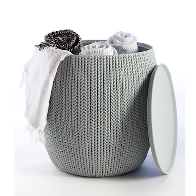 Cozy Urban Knit Poufs & Table Set - Violet Poufs + Grey Table - Image 2