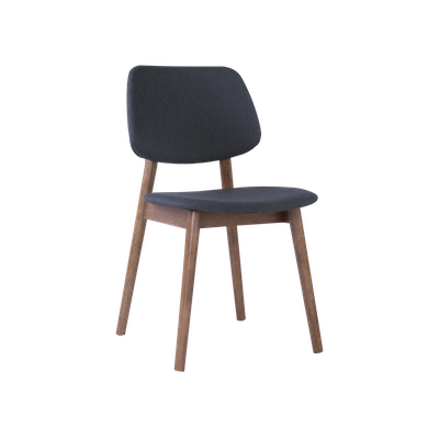 Riley Dining Chair with Cushioned Backrest - Walnut, Dark Grey - Image 1