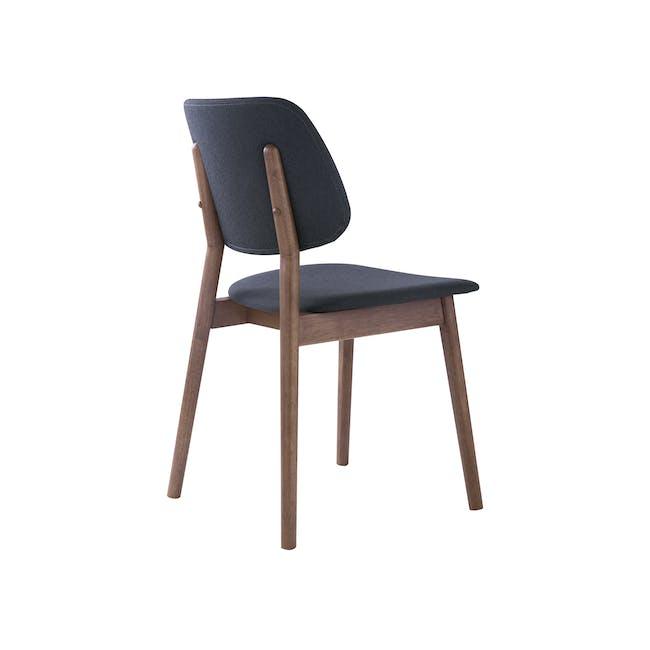 Riley Dining Chair with Cushioned Backrest - Walnut, Dark Grey - 3