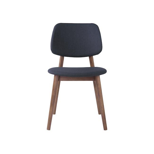 Riley Dining Chair with Cushioned Backrest - Walnut, Dark Grey - 1