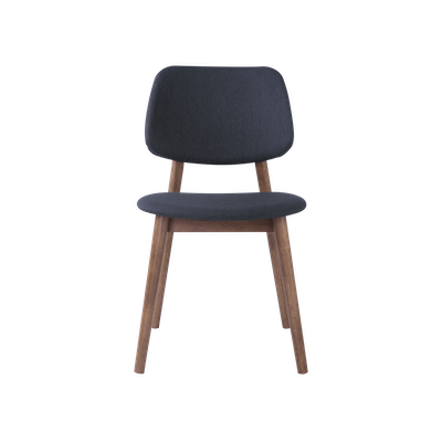 Riley Dining Chair with Cushioned Backrest - Walnut, Dark Grey - Image 2