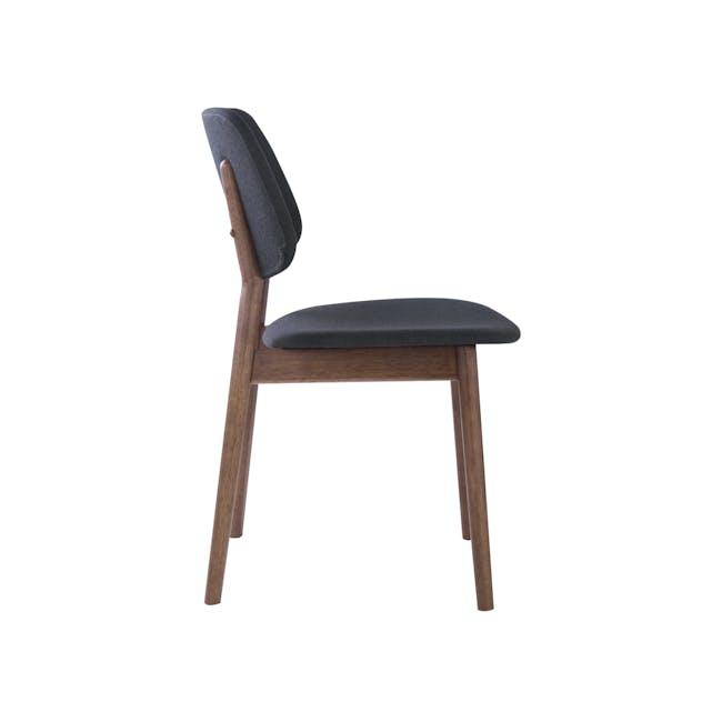 Riley Dining Chair with Cushioned Backrest - Walnut, Dark Grey - 2