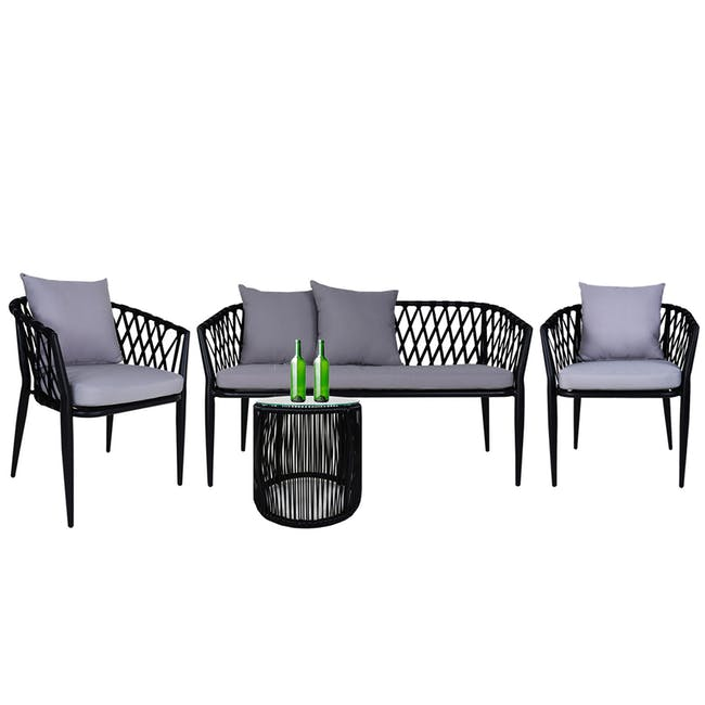 Orgo Loveseat & 2 Armchair Set - Grey Cushion - 0