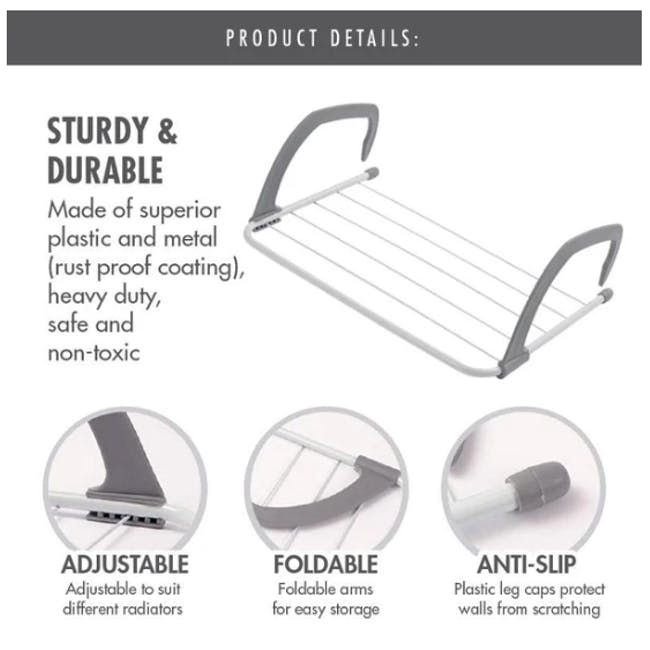 HOUZE Wall Hanging Radiator Drying Airer (2 Sizes) - 8
