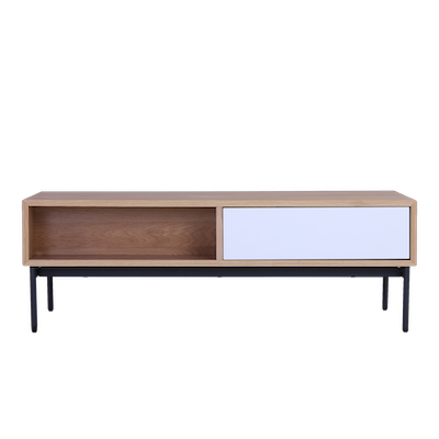 Bacchus Twin Drawer Coffee Table - White, Oak - Image 1