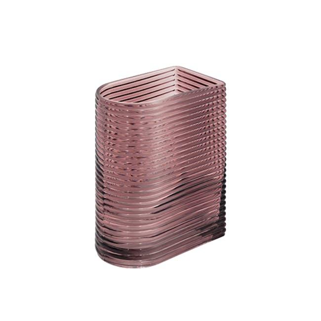 Flor Retro Ribbed Vase 17 cm - Maroon - 0