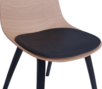 Stacy Dining Chair w/ Leather Seat Pad - Oak, Black - Image 2