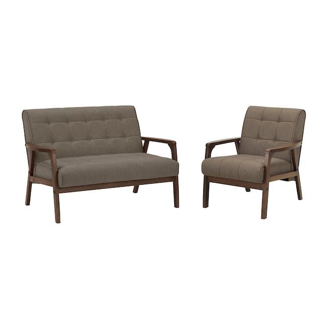 Tucson 2 Seater Sofa with Tucson Armchair - Chestnut (Fabric) - 0