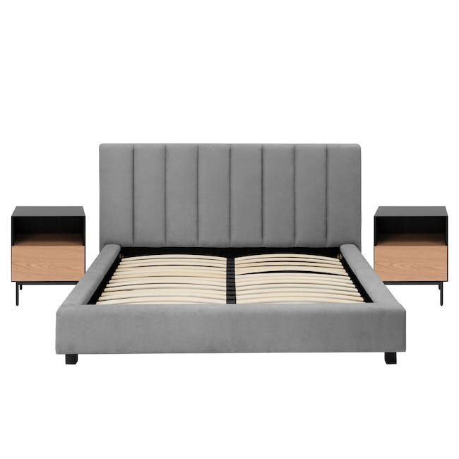 Elliot King Bed in Gray Owl with 2 Lewis Bedside Tables in Black, Ash Brown - 0