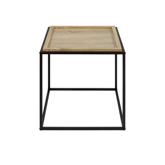 Glass and Metal - Dana Square Side Table - Oak