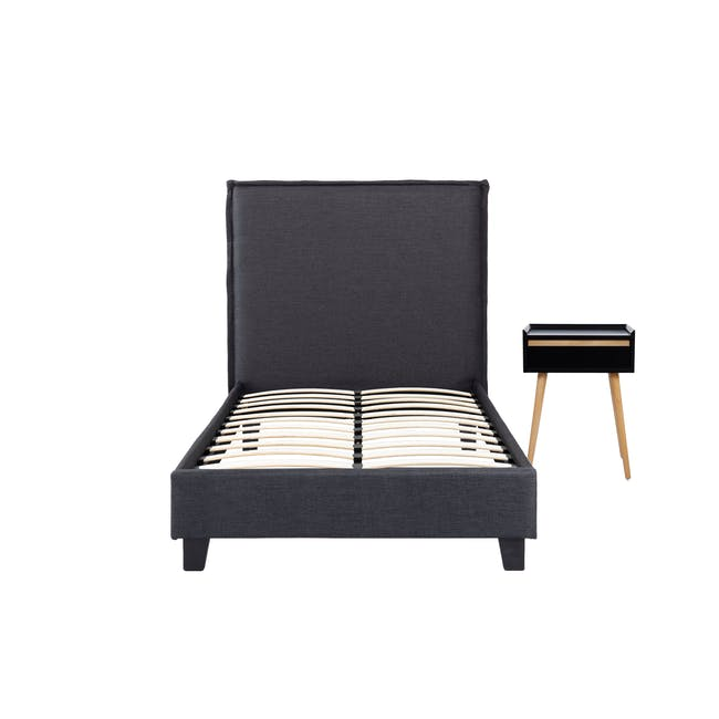 Hank Single Bed in Hailstorm with 1 Dalton Bedside Table in Natural, Black - 0