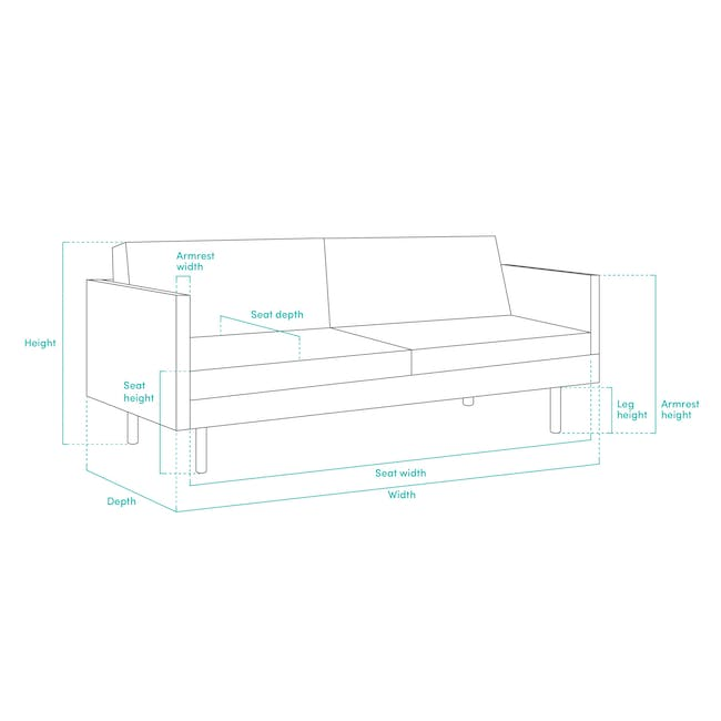 Carter 3 Seater Sofa - Space Blue - 10