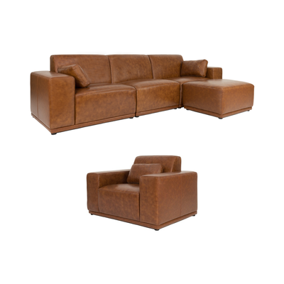 Milan 3 Seater Living Room Set with Ottoman - Cowhide - Image 1