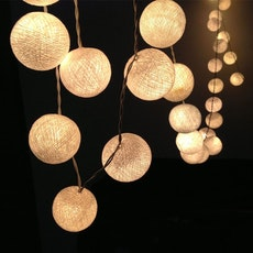 Cotton Ball String Lights - White
