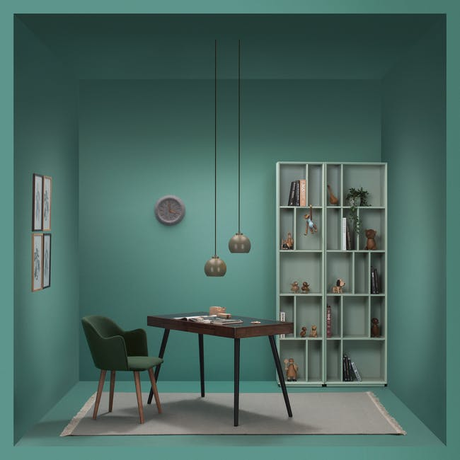 Larisa Dining Table 1.6m with 4 Anneli Dining Armchairs in Grey and Dark Green Velvet - 6
