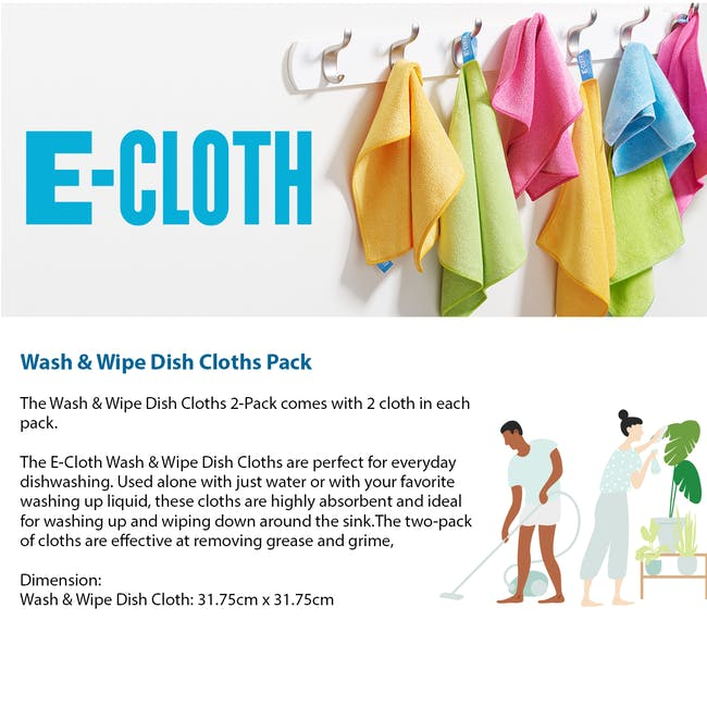 e-cloth Wash and Wipe Kitchen Eco Cleaning Cloth Pack (Set of 2) - 2