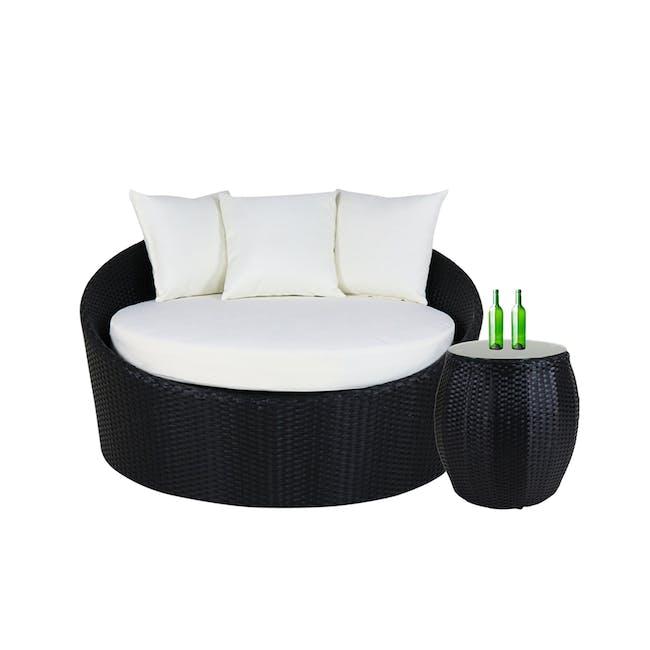 Round Sofa with Coffee Table Set - Cream Cushion - 0