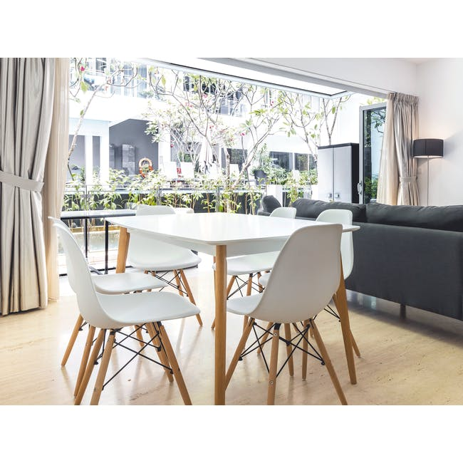 (As-is) Harold Dining Table 1.5m - Natural, White - 56 - 8