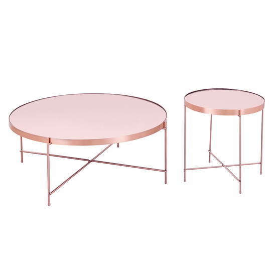 SourceByNet - Chloe Round Coffee Table - Rose Gold