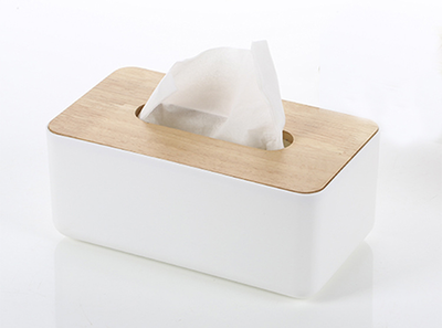Wooden Tissue Box - White