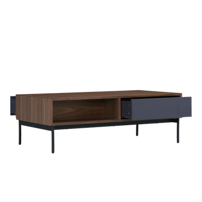 Bacchus Twin Drawer Coffee Table - Grey, Walnut - Image 2
