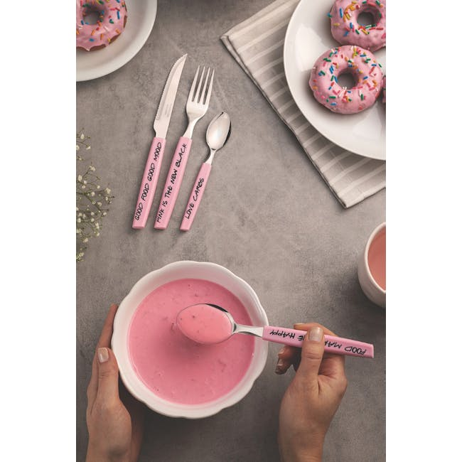 Tramontina My Lovely Kitchen 16-Pc Stainless Steel Flatware Set with Pink Handles - 2