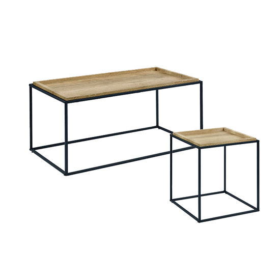 HipVan Bundles - Dana Rectangle a Table 1m and Dana Square Side Table - Oak