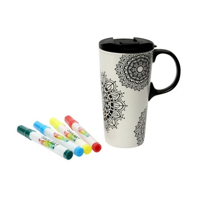 DIY Ceramic Travel Mug - Mandala Mania