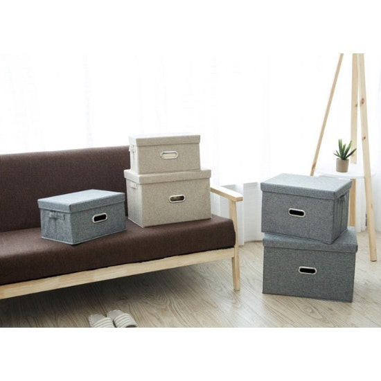 1688 - Leonard Fabric Storage Box - Light Grey - Small