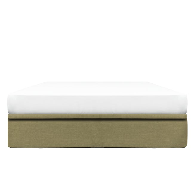 ESSENTIALS Queen Storage Bed - Khaki (Fabric) - 0