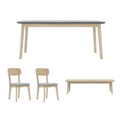 Hendrix Dining Table 1.8m with Hendrix Bench 1.5m and 2 Hendrix Dining Chairs - Image 1