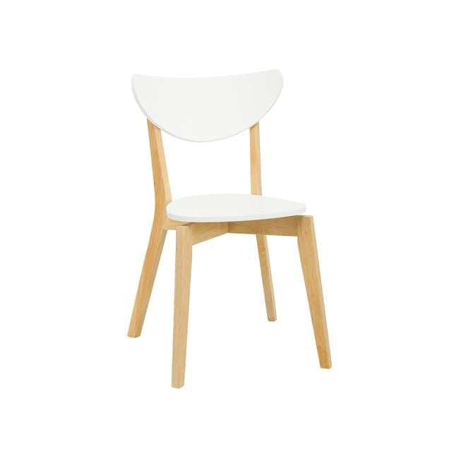Carmen Round Dining Table 1m with 4 Harold Dining Chairs in White - 5
