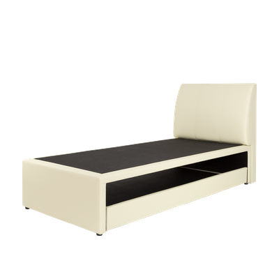 ESSENTIALS Trundle Bed - Cream (Faux Leather) - 2 Sizes - Image 1
