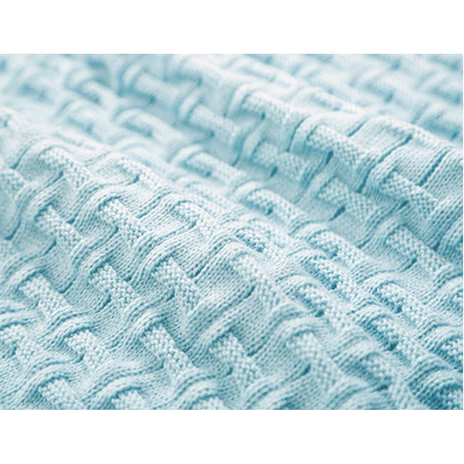 Camille Knitted Throw Blanket 110 x 175 cm - Sky Blue - 4