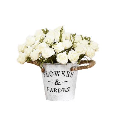 Faux White Roses Pot Set - Image 1