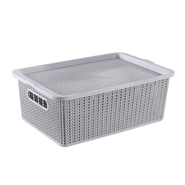 Braided Storage Basket with Lid - Medium - 0
