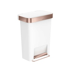 simplehuman Rectangular Step Bin 45L - Rose Gold/White