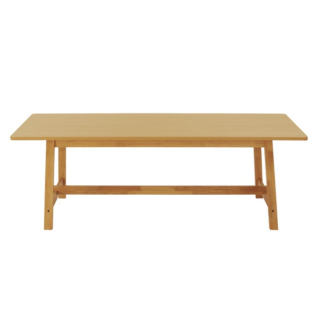 Haynes Table 2.2m in Oak with 4 Ladee Dining Chairs in Natural, Pale Grey - 6