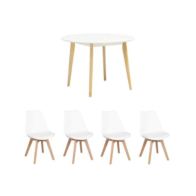 Harold Round Dining Table 1m in White with 4 Linnett Chairs in White - 0