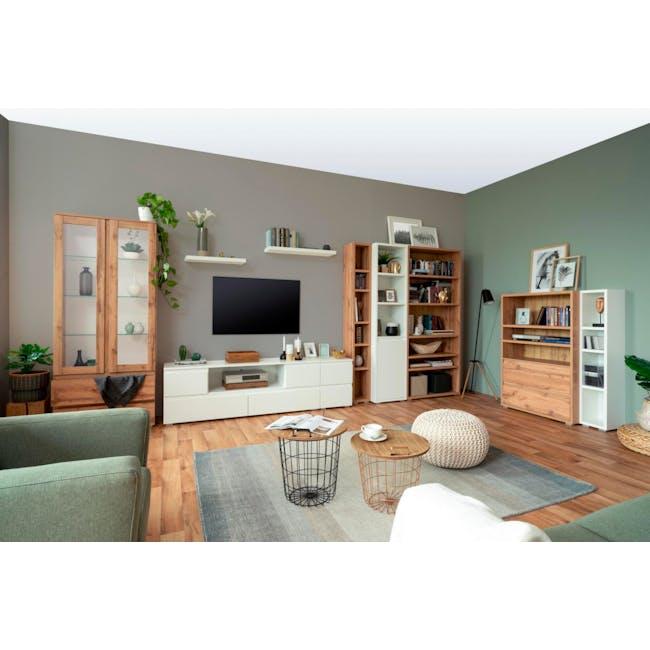 Erika Glass Display Cabinet 0.8m - Golden Oak - 2