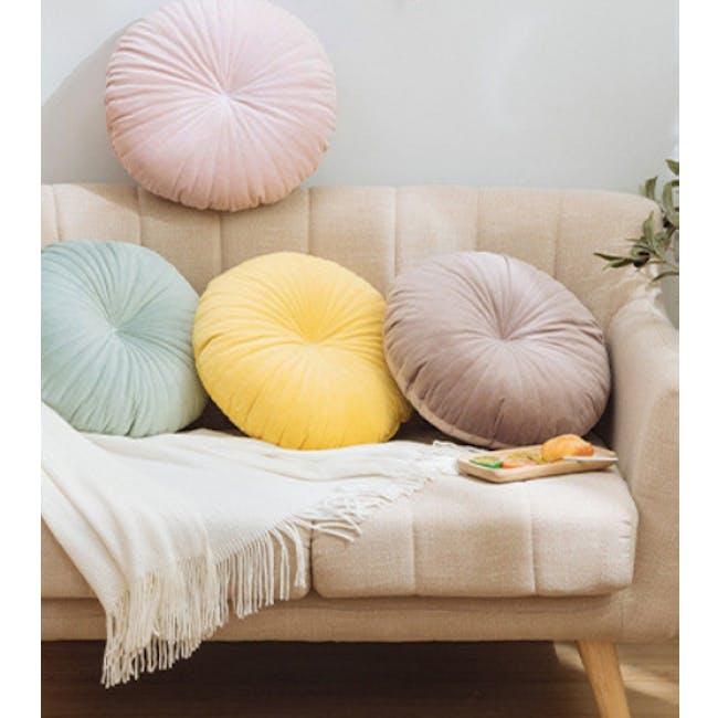 Fenni Round Velvet Cushion - Mint - 1