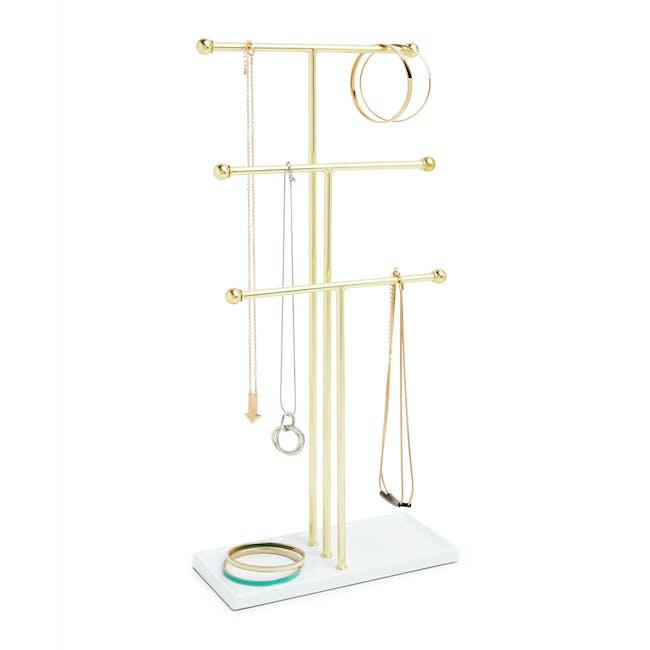 Trigem Jewelry Stand - White, Brass - 5
