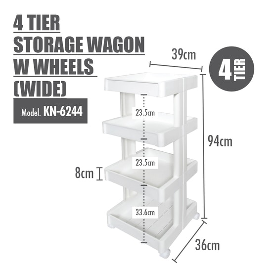 Houze - 4 Tier Storage Wagon with Wheels - Wide