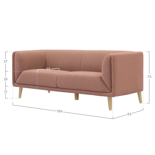 Audrey 3 Seater Sofa - Blush - 1