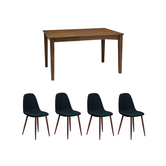 Cocoa With 4 Fynn Dining Chair Walnut